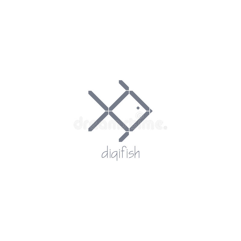 Ψηφιακό λογότυπο ψαριών Γκρίζο διάνυσμα επίδρασης χρώματος ψηφιακό με το σκοτεινό υπόβαθρο στοκ εικόνες
