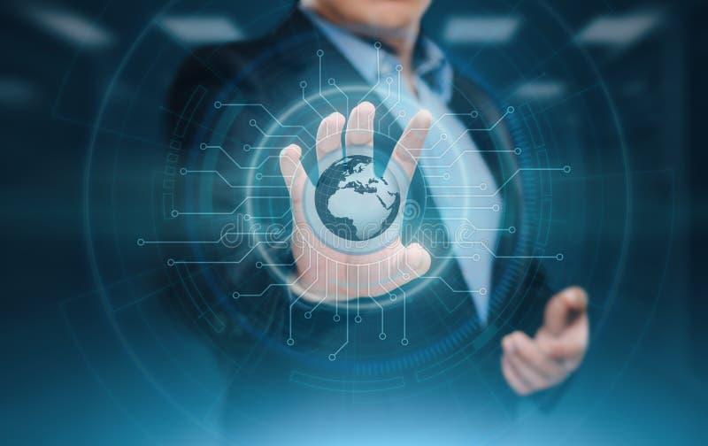 Ψηφιακό παγκόσμιο δίκτυο Έννοια τεχνολογίας επιχειρησιακού Διαδικτύου Ο επιχειρηματίας πιέζει την οθόνη αφής στοκ εικόνα