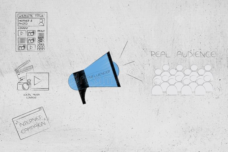 Ψηφιακό περιεχόμενο δίπλα megaphone influencer και το πραγματικό ακροατήριο στοκ εικόνες