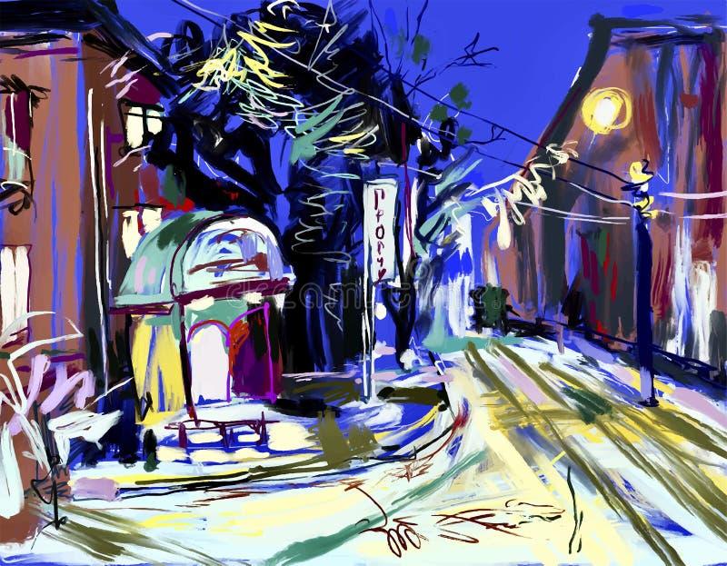Ψηφιακό σχέδιο σκίτσων του τοπίου χειμερινού βραδιού ελεύθερη απεικόνιση δικαιώματος