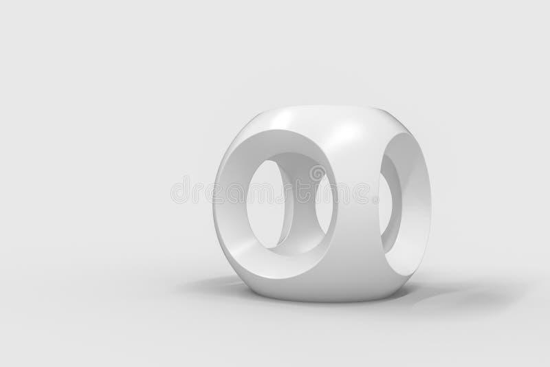 τρισδιάστατη απόδοση, δημιουργικοί κύβοι στο άσπρο σκηνικό, βιομηχανικό προϊόν σχεδίου διανυσματική απεικόνιση