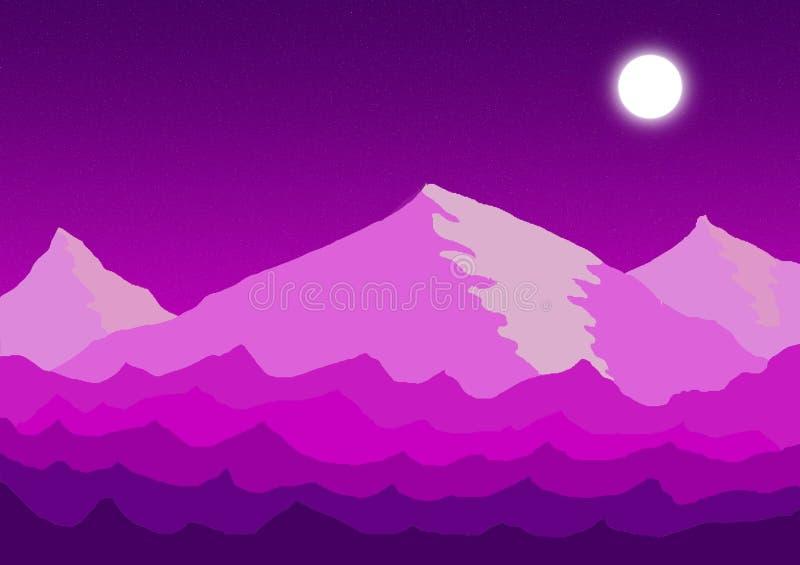 Ψηφιακό τοπίο βουνών νύχτας τέχνης απεικόνισης τέχνης έννοιας σε Photoshop ελεύθερη απεικόνιση δικαιώματος