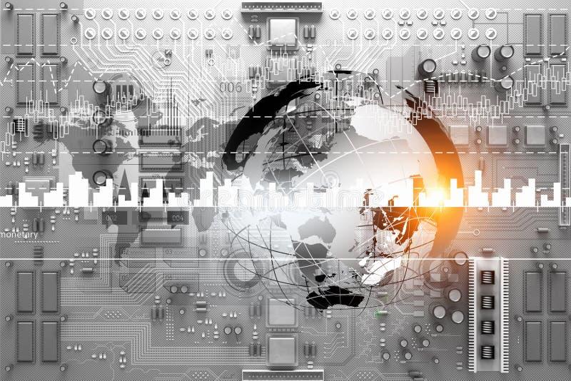 Ψηφιακό υπόβαθρο μικροκυκλωμάτων Μικτά μέσα στοκ εικόνα με δικαίωμα ελεύθερης χρήσης