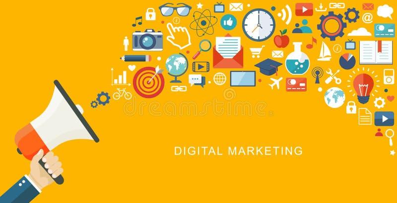 Ψηφιακό marketiing επίπεδο illustartion Χέρι με τον ομιλητή και το εικονίδιο διανυσματική απεικόνιση