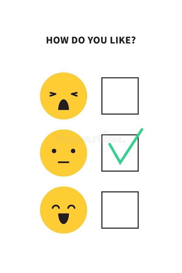 Ψηφοφορία ή ερωτηματολόγιο ερευνών για την έρευνα ικανοποίησης πελατών ή την εμπειρία χρηστών απεικόνιση αποθεμάτων