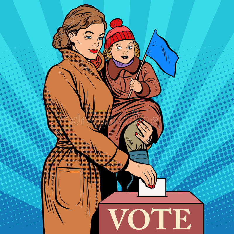 Ψηφοφορία γυναικών μητέρων και παιδιών στις εκλογές απεικόνιση αποθεμάτων