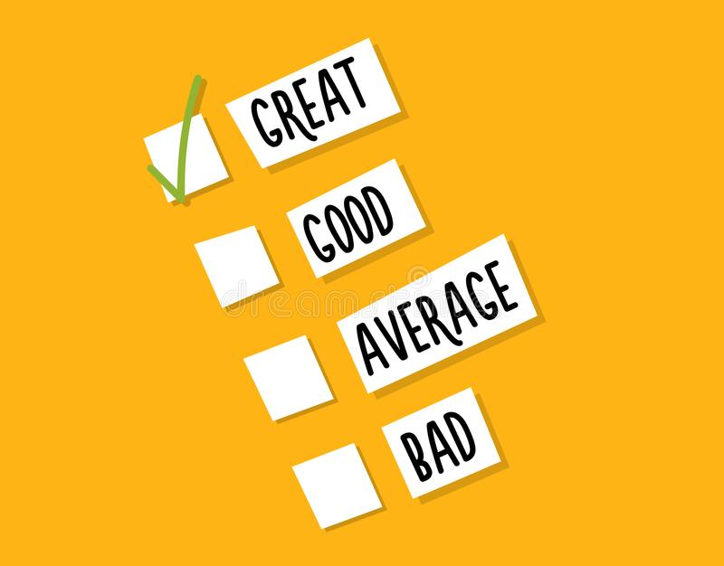 Ψηφοφορία πελατών για την ποιότητα μιας υπηρεσίας, μιας απόκτησης ή μιας εμπειρίας Διανυσματικό σχέδιο υποβάθρου απεικόνισης ελεύθερη απεικόνιση δικαιώματος