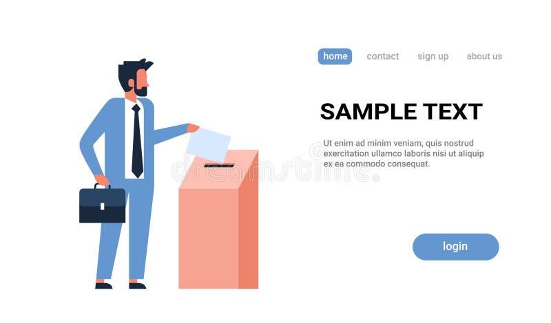 Ψηφοφόρος επιχειρηματιών έννοιας ημέρας εκλογής που βάζει τον κατάλογο ψήφου εγγράφου στο κιβώτιο κατά τη διάρκεια επίπεδου οριζό απεικόνιση αποθεμάτων