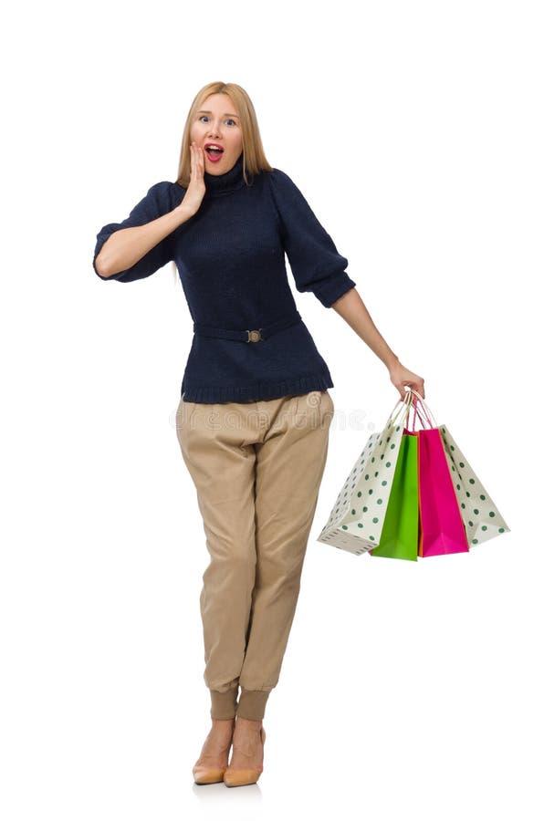 Download Ψηλή γυναίκα με τις πλαστικές τσάντες που απομονώνεται στο λευκό Στοκ Εικόνες - εικόνα από αδελφών, χαρούμενος: 62711010