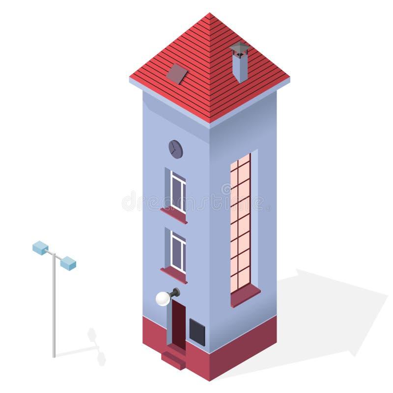 Ψηλό λεπτό σπίτι Isometric μπλε κτήριο, κόκκινη στέγη Αστεία αρχιτεκτονική διανυσματική απεικόνιση