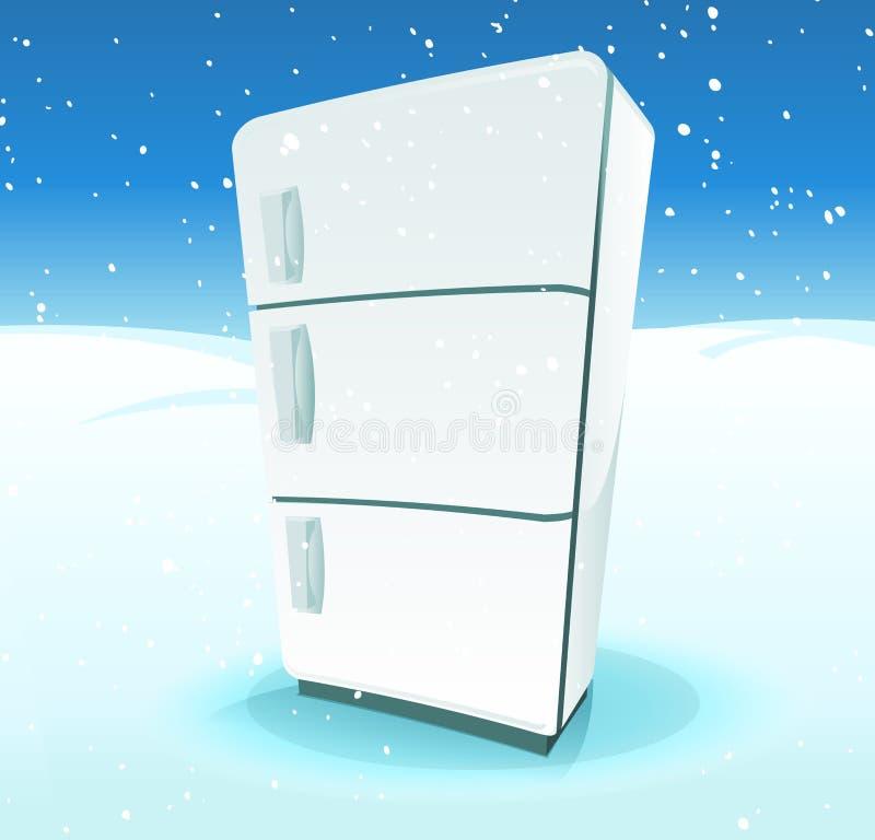 Ψυγείο μέσα στο τοπίο βόρειου πόλου διανυσματική απεικόνιση