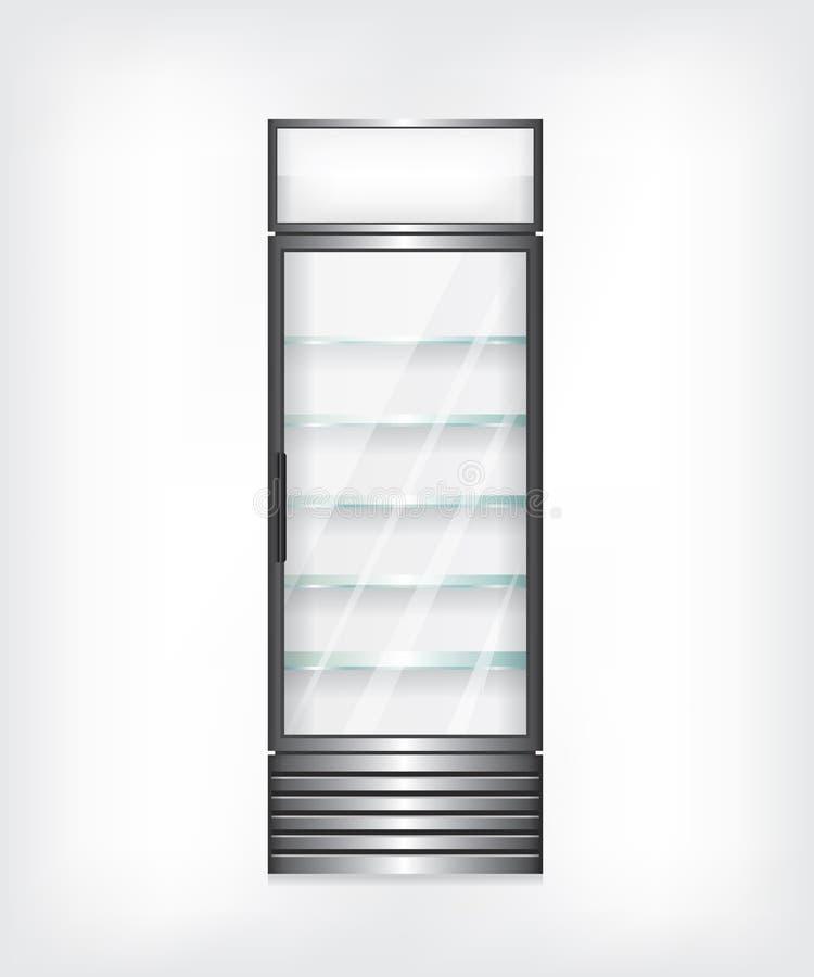Ψυγείο με τα ράφια γυαλιού απεικόνιση αποθεμάτων