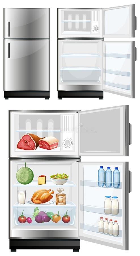 Ψυγείο με τα τρόφιμα στην αποθήκευση ελεύθερη απεικόνιση δικαιώματος