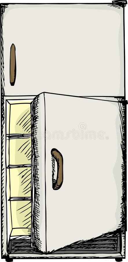 ψυγείο πορτών ανοικτό διανυσματική απεικόνιση