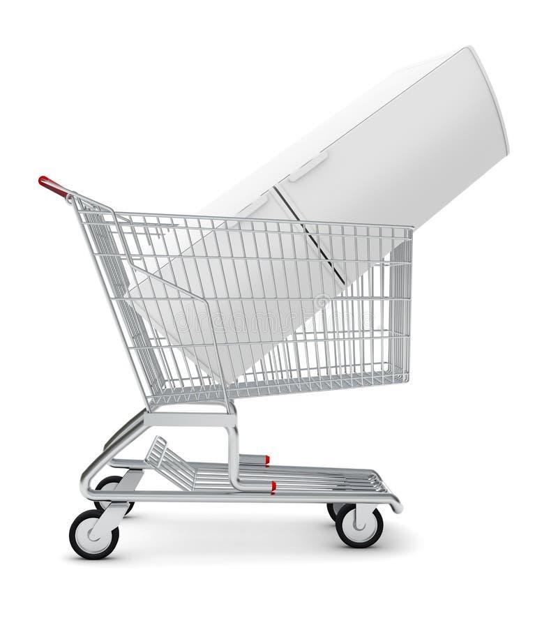 Ψυγείο στο κάρρο αγορών απεικόνιση αποθεμάτων