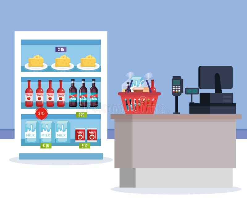 Ψυγείο υπεραγορών με τα προϊόντα και το σημείο πώλησης ελεύθερη απεικόνιση δικαιώματος