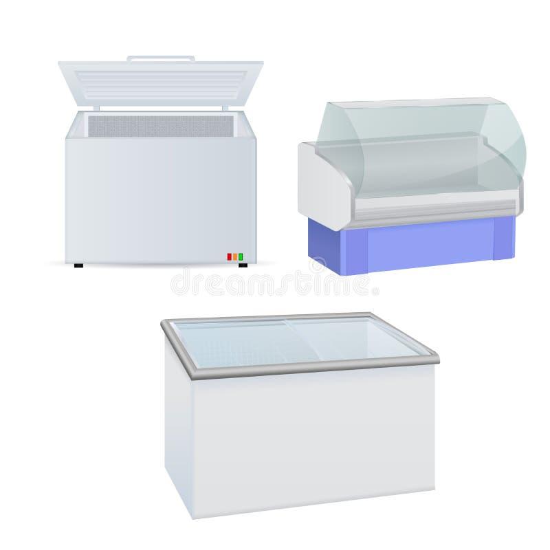 Ψυκτήρας και ψυγείο Ψυκτήρας με την πόρτα γυαλιού απεικόνιση αποθεμάτων