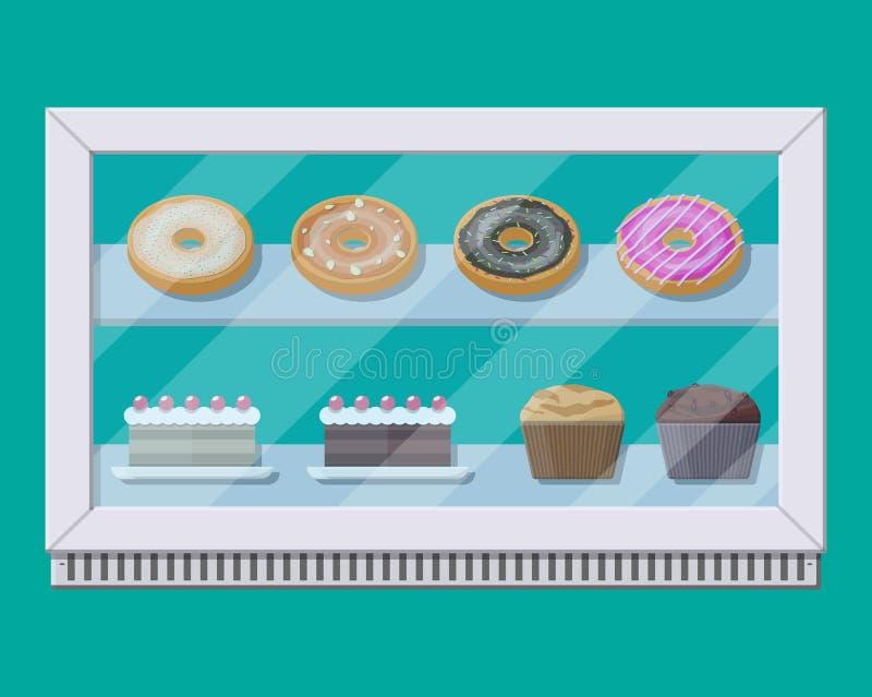 Ψυκτήρας vitrine καταστημάτων αρτοποιείων με τα κέικ και τη ζύμη ελεύθερη απεικόνιση δικαιώματος
