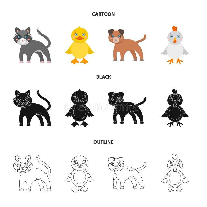 Ψυχαγωγία, αγρόκτημα, κατοικίδια ζώα και άλλο εικονίδιο Ιστού στα κινούμενα σχέδια, ο Μαύρος, ύφος περιλήψεων Αυγά, παιχνίδι, εικ διανυσματική απεικόνιση