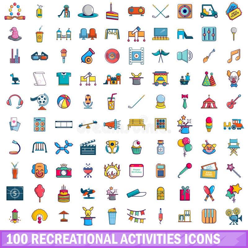 100 ψυχαγωγικά εικονίδια δραστηριοτήτων καθορισμένα, ύφος κινούμενων σχεδίων ελεύθερη απεικόνιση δικαιώματος