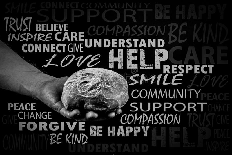 Ψωμί εκμετάλλευσης ατόμων, χέρι βοηθείας που δίνει το ψωμί σύννεφο λέξης, γραπτό στοκ εικόνες