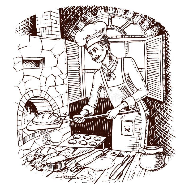 Ψωμί και γλυκό κουλούρι ή croissant μαγειρικός προϊστάμενος ή αρχιμάγειρας καυτός φούρνος τούβλου διανυσματική απεικόνιση