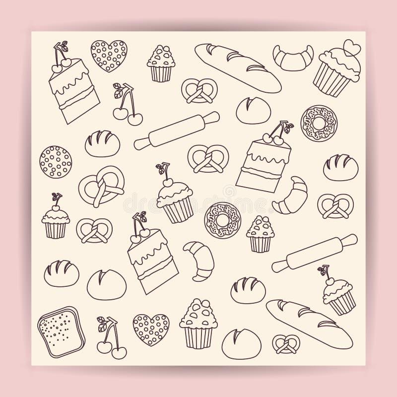 Ψωμί του σχεδίου τροφίμων αρτοποιείων ελεύθερη απεικόνιση δικαιώματος