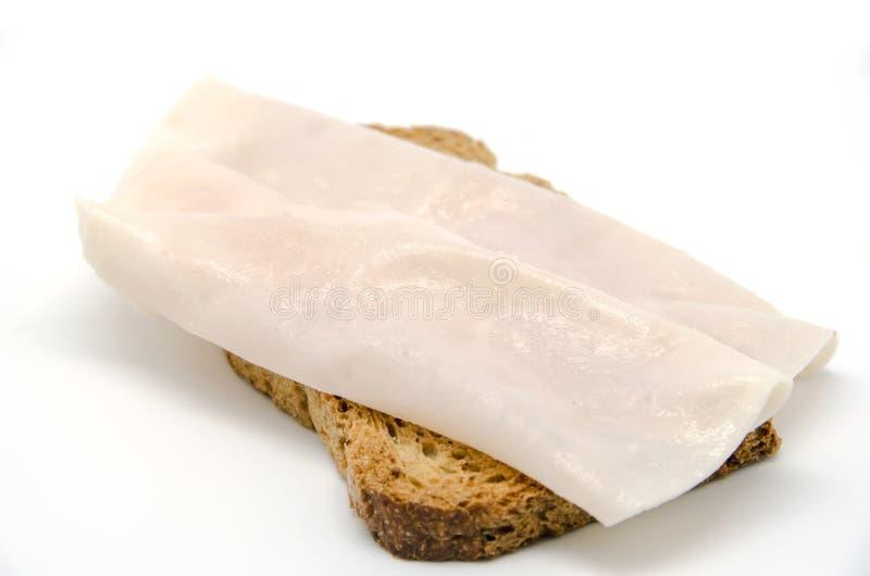 Ψωμί φρυγανιάς με τη φέτα ζαμπόν της Τουρκίας στοκ εικόνες με δικαίωμα ελεύθερης χρήσης