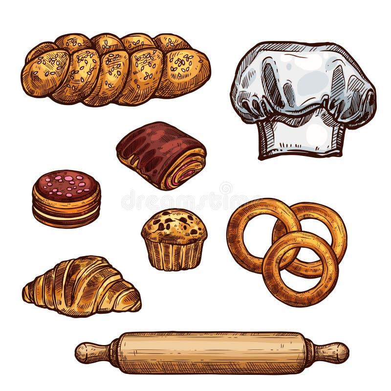 Ψωμί, croissant και κουλούρι, κέικ και cupcake σκίτσο ελεύθερη απεικόνιση δικαιώματος