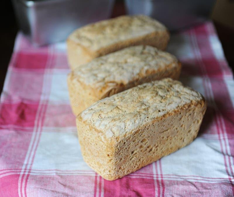 Ψωμί leaven σίκαλης χωρίς ζύμη τρία φρέσκες φραντζόλες σε ένα ελεγμένο τραπεζομάντιλο στοκ φωτογραφία με δικαίωμα ελεύθερης χρήσης
