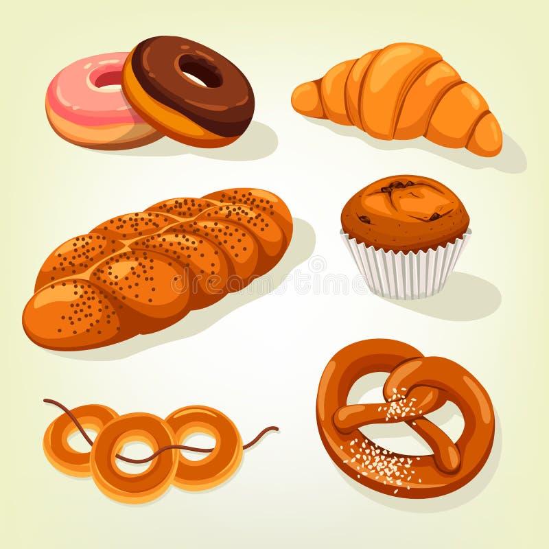 Ψωμί Multigrain και κέικ αρτοποιείων, croissant διανυσματική απεικόνιση
