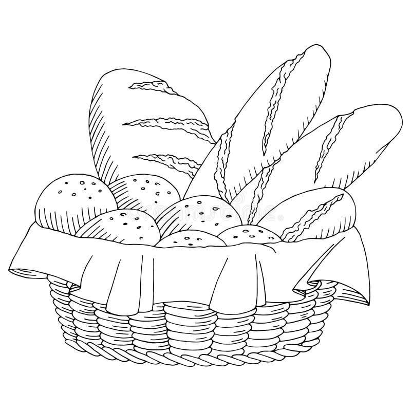 Ψωμιού καλαθιών τροφίμων γραφική απεικόνιση σκίτσων τέχνης μαύρη άσπρη διανυσματική απεικόνιση
