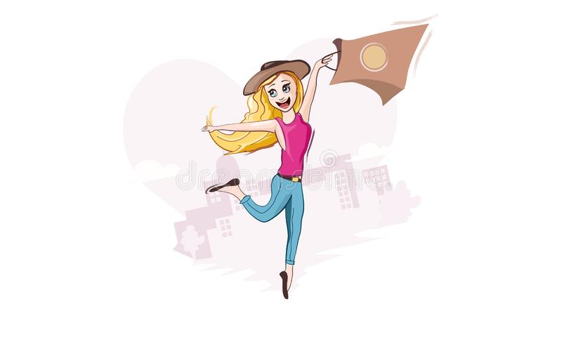 Ψωνίζοντας είναι πάθος Γυναικεία πραγματική αγάπη Επίπεδος ευτυχής χαρακτήρας κοριτσιών απεικόνιση αποθεμάτων