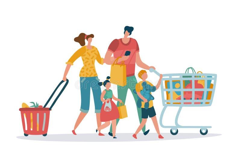Ψωνίζοντας οικογένεια Το κάρρο καλαθιών καταστημάτων παιδιών μπαμπάδων Mom καταναλώνει τους λιανικούς αγοραστές κινούμενων σχεδίω διανυσματική απεικόνιση