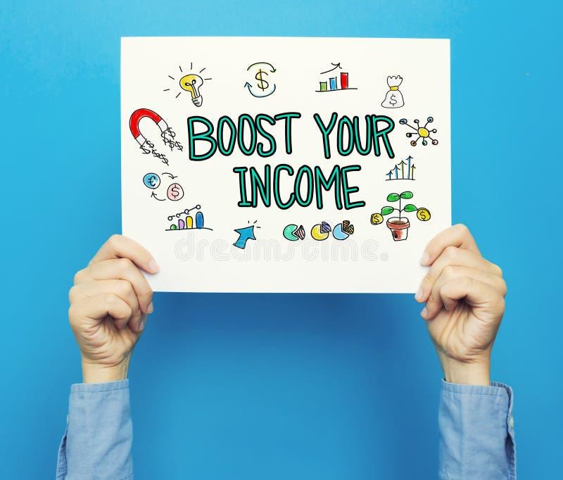 Ωθήστε το εισοδηματικό κείμενό σας σε μια άσπρη αφίσα στοκ φωτογραφία με δικαίωμα ελεύθερης χρήσης