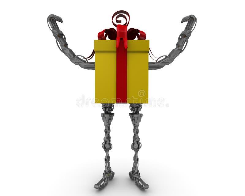 Ωθημένο κιβώτιο δώρων Χέρια που αυξάνονται επάνω απεικόνιση αποθεμάτων