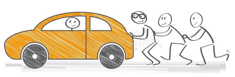 Ωθώντας αυτοκίνητο διανυσματική απεικόνιση