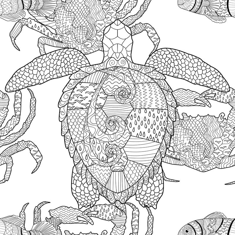 Ωκεάνειο άνευ ραφής σχέδιο ζώων zentangle ελεύθερη απεικόνιση δικαιώματος