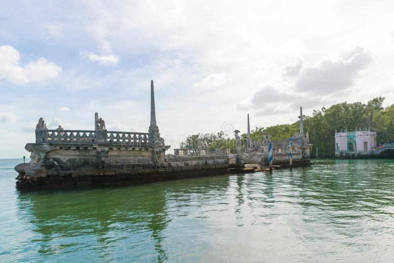 Ωκεάνια άποψη από το κατώφλι Vizcaya του μουσείου στο Μαϊάμι, Φλώριδα στοκ φωτογραφία με δικαίωμα ελεύθερης χρήσης