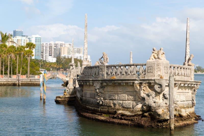 Ωκεάνια άποψη από το κατώφλι Vizcaya του μουσείου στο Μαϊάμι, Φλώριδα στοκ φωτογραφία