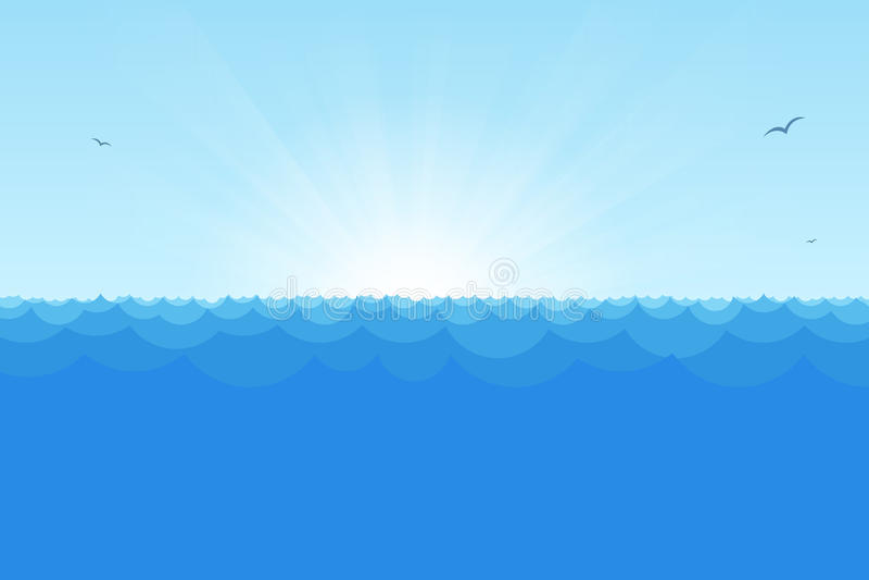 Ωκεάνια άποψη με τον ήλιο αύξησης