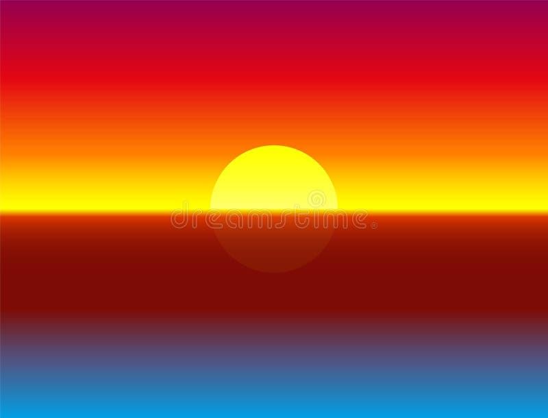 Ωκεάνια απεικόνιση υποβάθρου κλίσης ηλιοβασιλεμάτων διανυσματική απεικόνιση