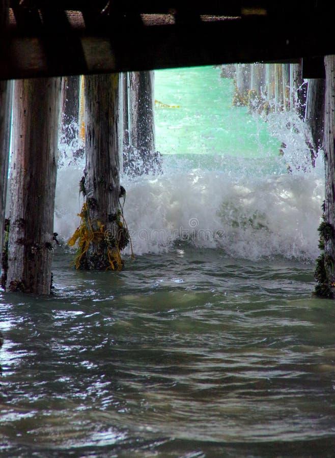 Ωκεάνια βιασύνη κυμάτων μέσα κάτω από την αποβάθρα στοκ φωτογραφία