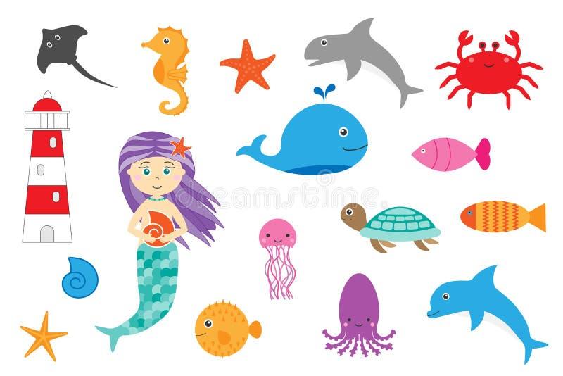 Ωκεάνια ζώα εκμάθησης για τα παιδιά, παιχνίδι εκπαίδευσης διασκέδασης για την ανάπτυξη παιδιών, προσχολική δραστηριότητα φύλλων ε απεικόνιση αποθεμάτων