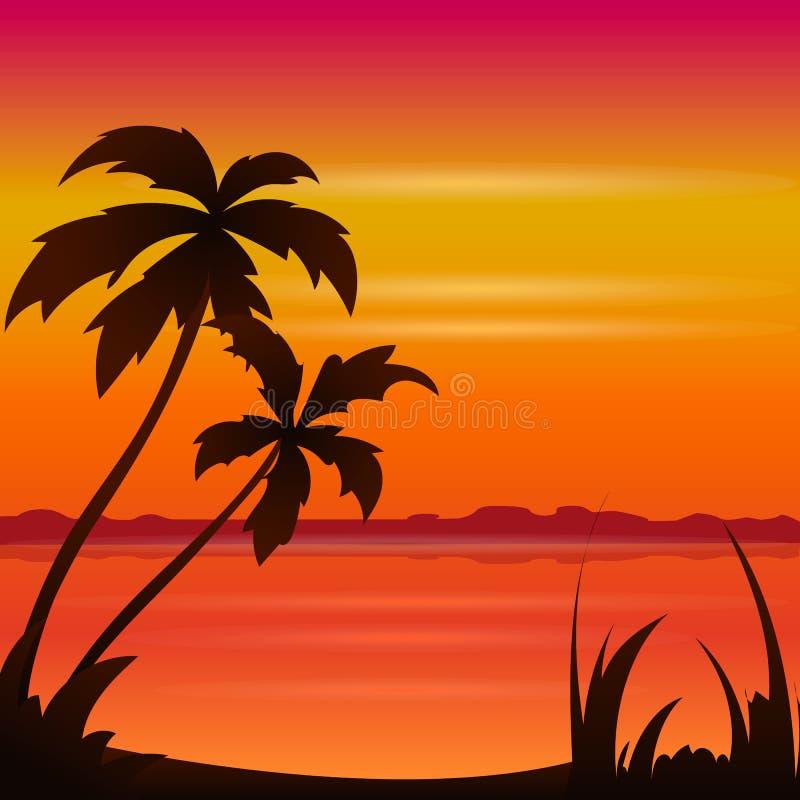 Ωκεάνια θερινή παραλία ηλιοβασιλέματος με τον τροπικό φοίνικα πέρα από τον ορίζοντα διανυσματική απεικόνιση