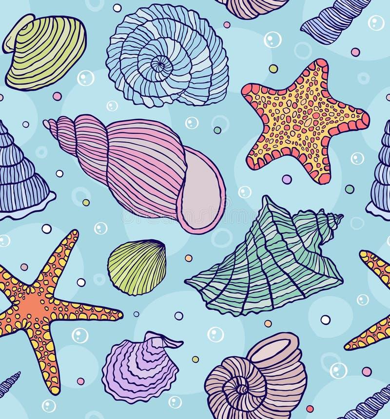 Ωκεάνια κοχύλια διανυσματική απεικόνιση