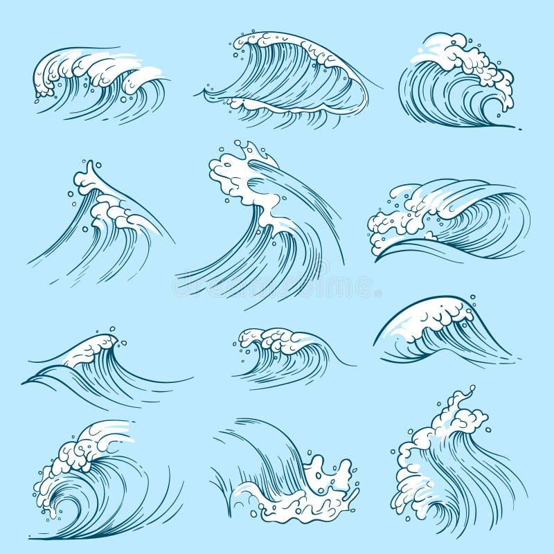 Ωκεάνια κύματα σκίτσων Συρμένες χέρι θαλάσσιες διανυσματικές παλίρροιες απεικόνιση αποθεμάτων