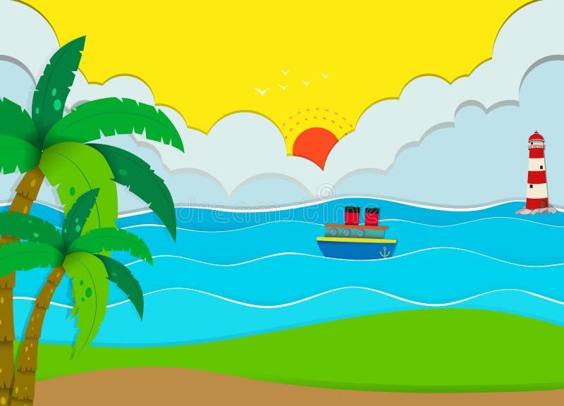 Ωκεάνια σκηνή με την παραλία και τη βάρκα ελεύθερη απεικόνιση δικαιώματος