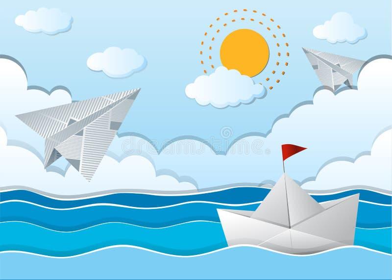 Ωκεάνια σκηνή με το αεροπλάνο και τη βάρκα εγγράφου διανυσματική απεικόνιση
