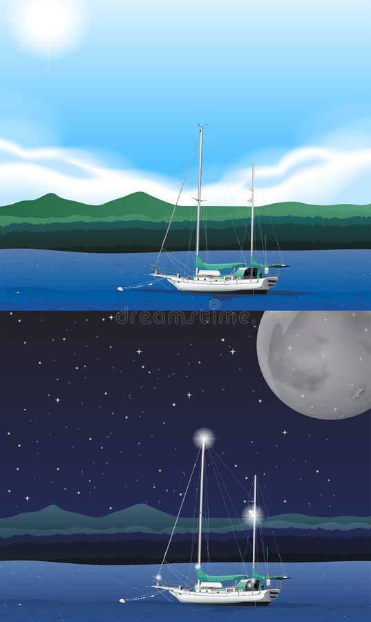Ωκεάνια σκηνή με το αλιευτικό σκάφος διανυσματική απεικόνιση